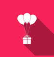 gift box with balloons icon with long shadow vector image