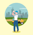 golf player over campfield vector image vector image