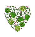 green bell peper heart shape wreath half of sweet vector image vector image