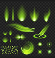 green shine stars with glitters sparkles icons vector image