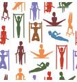 gymnastics and acrobatics seamless pattern vector image