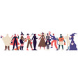 halloween party characters celebrating people in vector image vector image