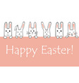 happy easter banner with bunny faces and paws vector image vector image