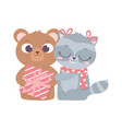 happy valentines day cute animals bear with gift vector image