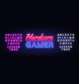 hardcore gamer neon text gaming neon sign vector image