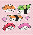 kawaii sushi icon set vector image