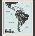 map latin america poster latin america vector image