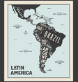 map latin america poster map latin america vector image