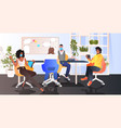 mix race businesspeople working in modern office vector image vector image