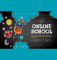 online school web banner template doodle style vector image vector image