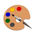 palette with paints and brush in vector image vector image