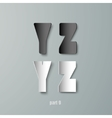 Paper Graphic Alphabet white and black YX vector image