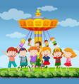 park scene with happy children vector image