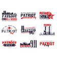 patriot day lettering set vector image