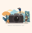photographers with big camera for world vector image