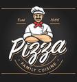 pizze emblem logo design vector image vector image