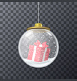 red present inside of glass bauble vector image