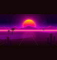 retro wave desert neon cover with oasis and palm vector image vector image