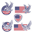 set emblems with eagles on usa flag vector image