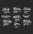 set of hand drawn lettering thank you elegant vector image