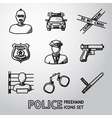 Set of police freehand icons vector image vector image