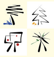 set of stylized icon trees vector image