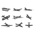 set planes icons isolated on white vector image vector image