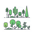 set trees line style vector image