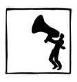 silhouette businessman with a big megaphone vector image vector image