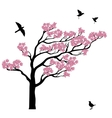 Silhoutte of sakura tree with birds vector image
