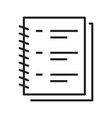 simple linear diary blank for notes icon vector image vector image