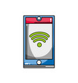 smartphone technology with wifi connection symbol vector image