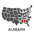 sstate of alabama on map of usa vector image