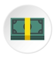 Stack of money icon flat style vector image