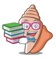 student with book cute shell character cartoon vector image