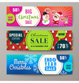 three colorful christmas sale banners background vector image