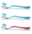 toothbrush set on white background vector image