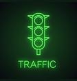 traffic lights neon light icon vector image