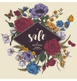 Vintage floral sale card with roses