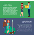 Couple walking Man gives a gift to a woman Cartoon vector image