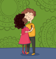 multicultural boy and girl kissing