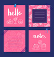 notes templates with sweets vector image