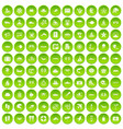 100 sea life icons set green circle vector image vector image