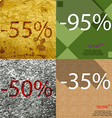 95 35 50 icon Set of percent discount on abstract vector image