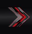 abstract red grey cyber arrow dark grey metal vector image vector image