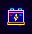 accumulator battery neon sign vector image