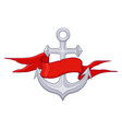 anchor with red ribbon banner vector image vector image