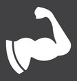 arm muscle glyph icon fitness and sport biceps vector image vector image