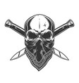 bandit skull with bandana on face vector image vector image