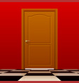 brown closed door with red wall and glossy chess vector image